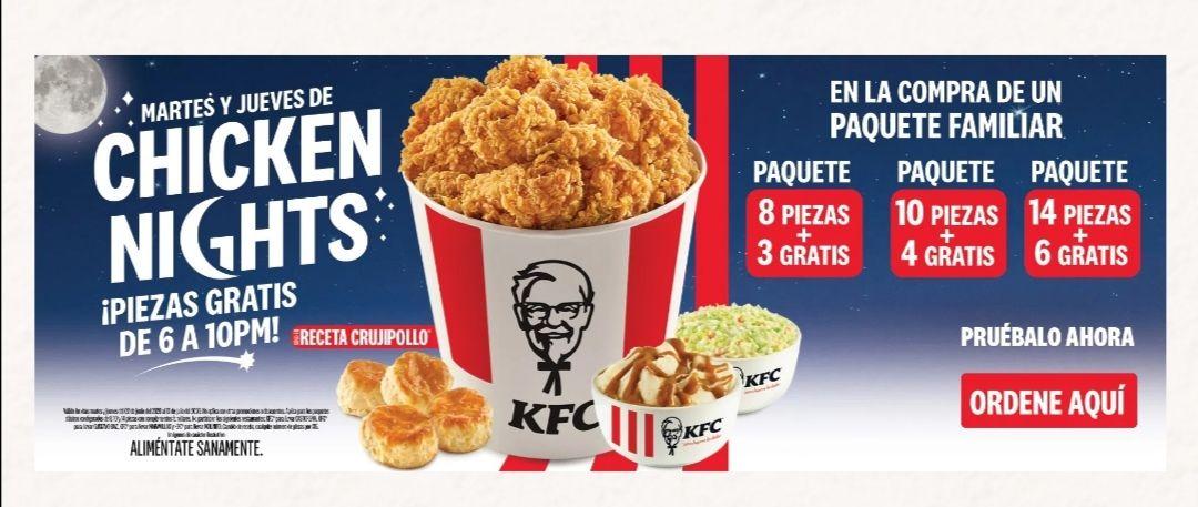 KFC: Piezas gratis en paquetes Martes y Jueves de 6 a 10 pm