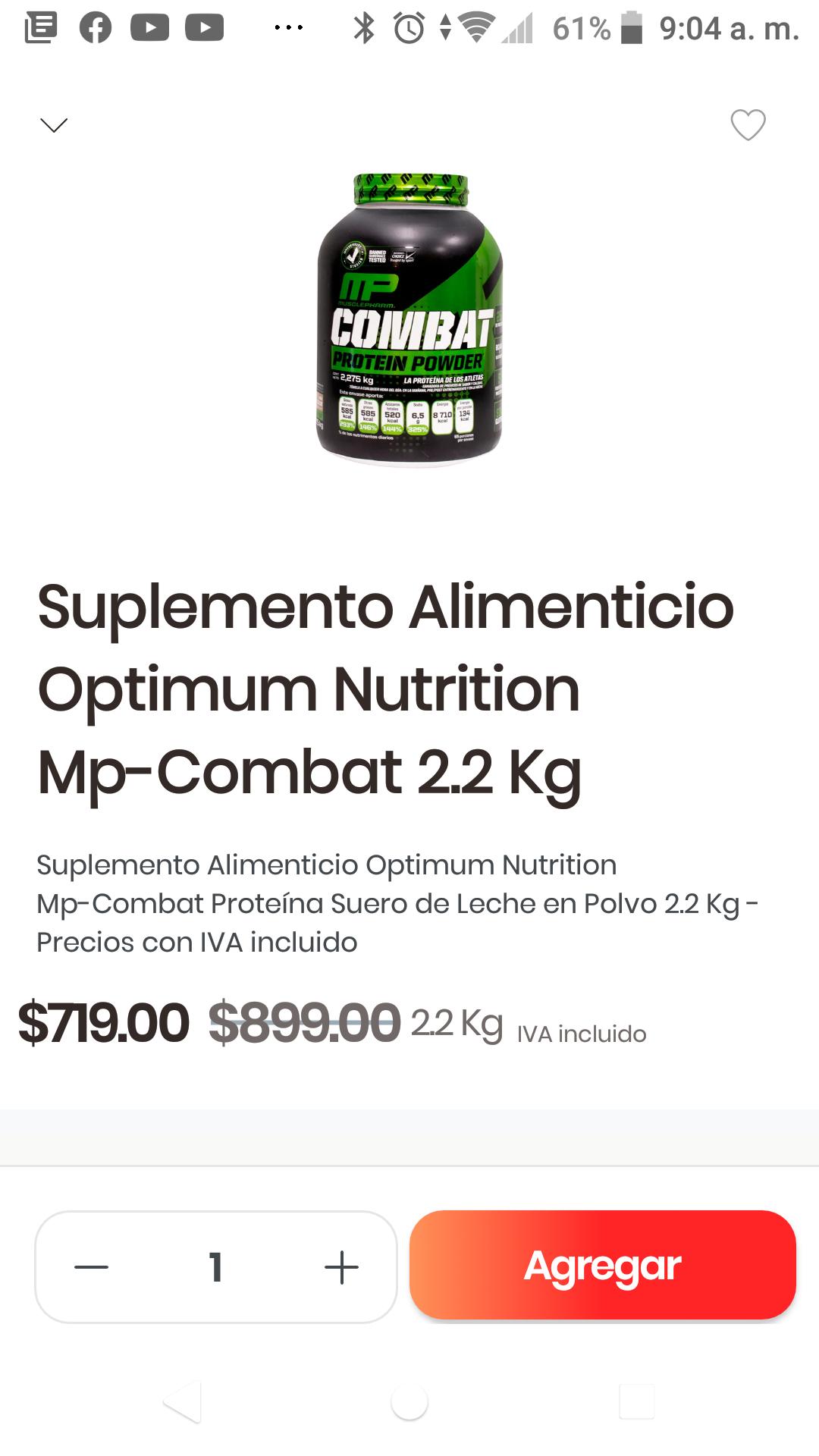 Costco por Rappi: Proteina mp combat