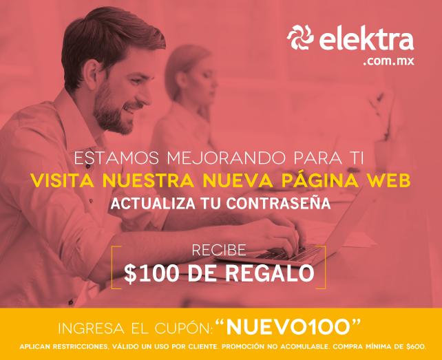 Elektra, cupon de $100 en compra minima de $600 actualiza contraseña, combina con cupon de celulares