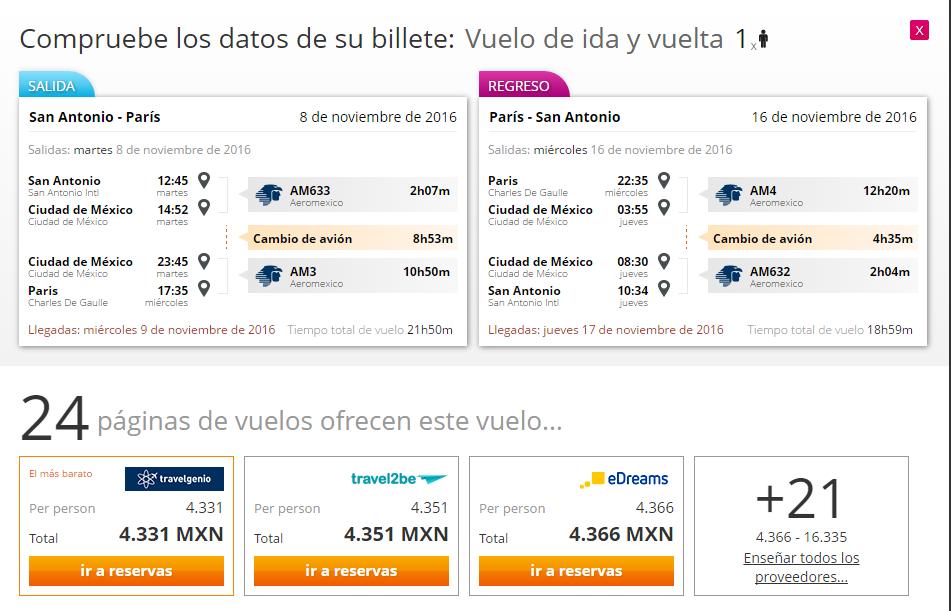 Vuelo de San Antonio a París y regreso al DF $4,331 o de Houston a Amsterdam y regreso al DF $3,673 (agrega viaje sencillo para salir de DF)