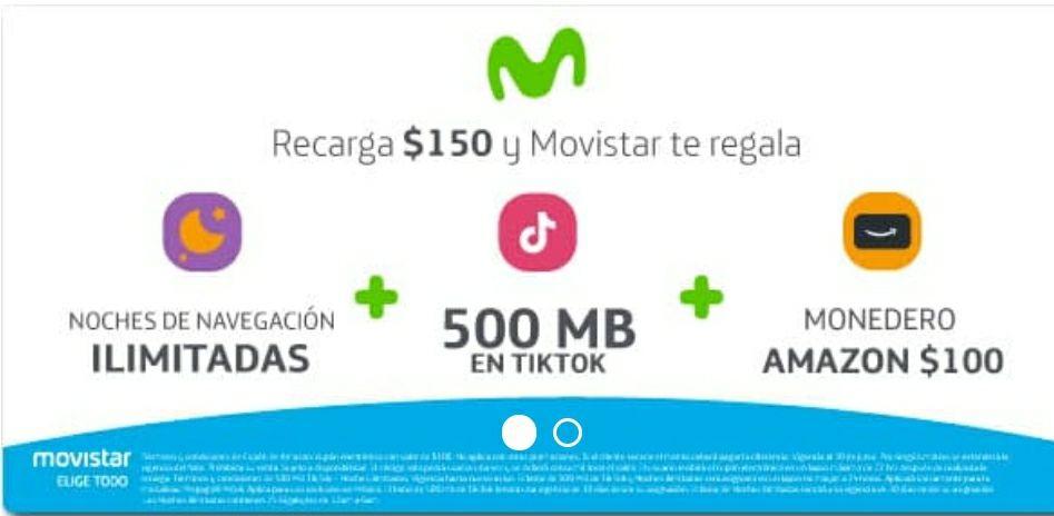 Undostres: recarga 150 pesos en Movistar y obtén noches ilimitadas + 500 MB en Tiktok + 100 pesos en monedero Amazon