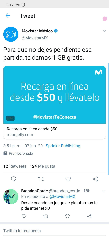 Movistar: Si recargas 50 te regalan 1 GB gratis para que sigas jugando