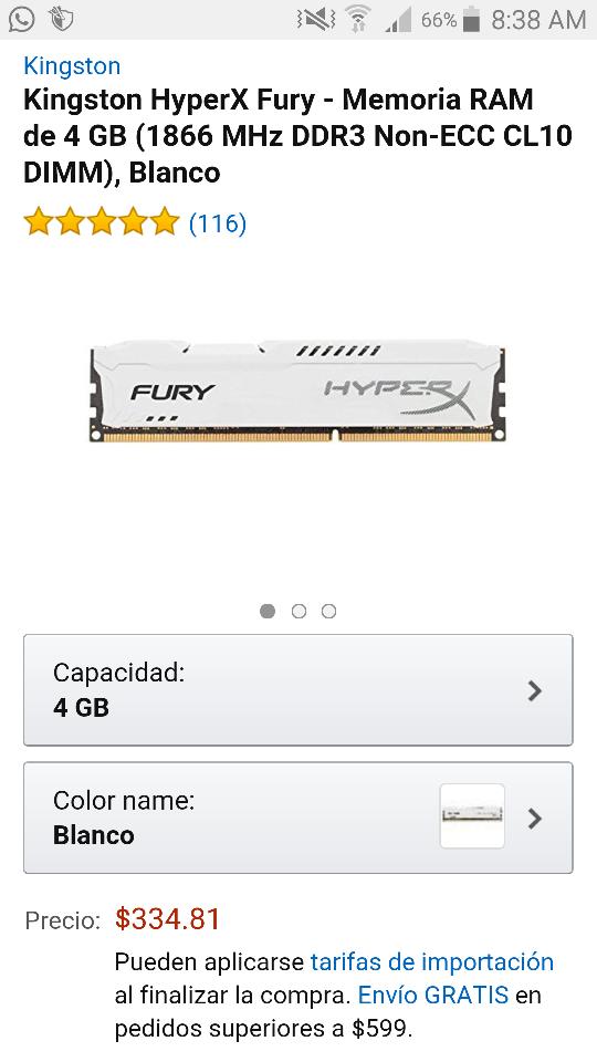 Amazon: Memoria Ram Kingston HyperX de 4Gb a 1866MHZ a $334