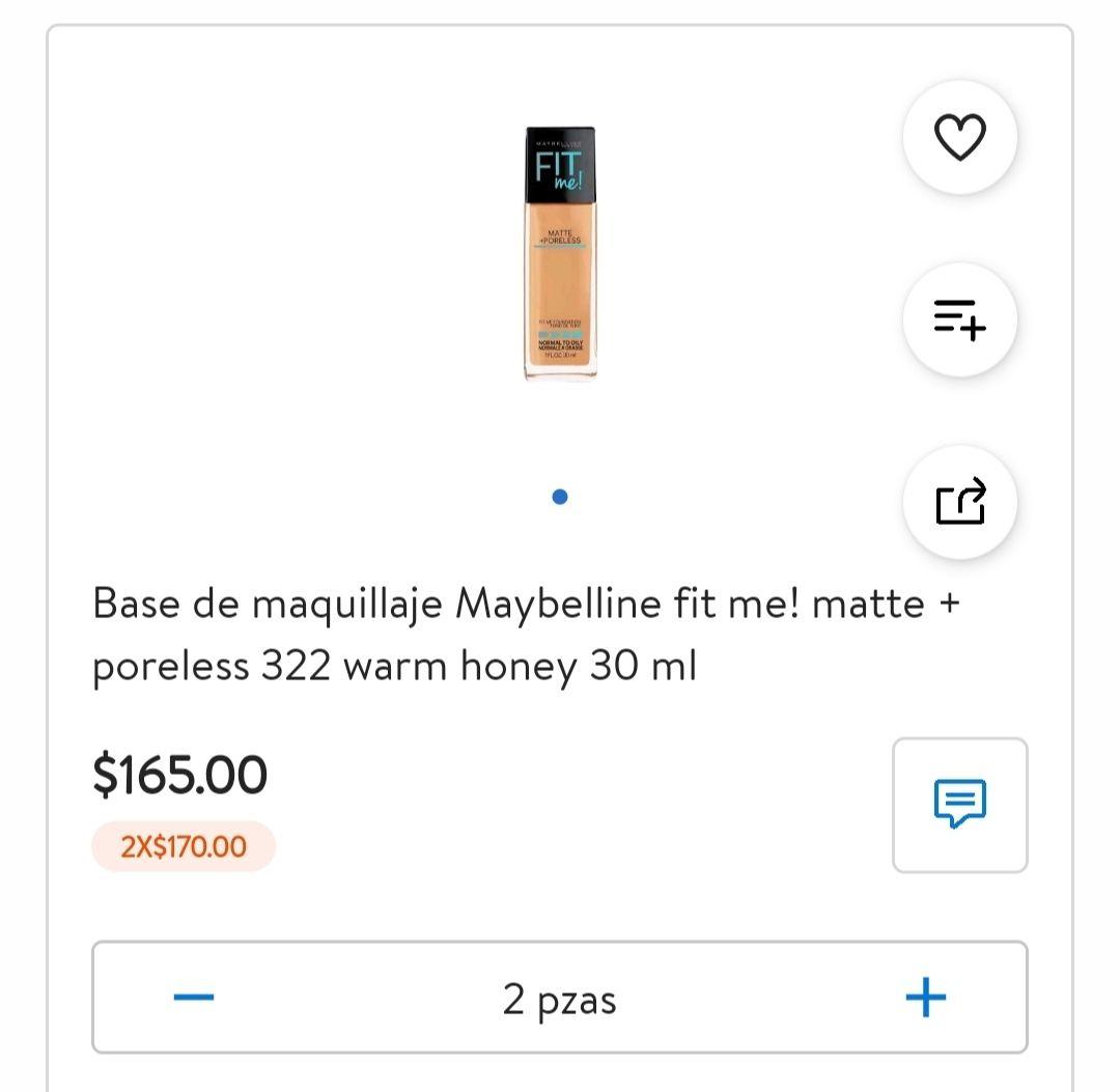Walmart: Base de maquillaje Maybelline fit me! 1 por $165 o 2x$170