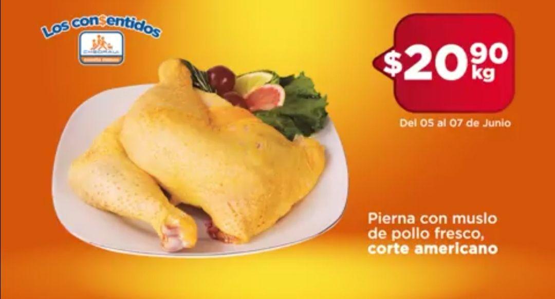 Chedraui: Pierna con Muslo de Pollo Fresco corte americano $20.90 kg.