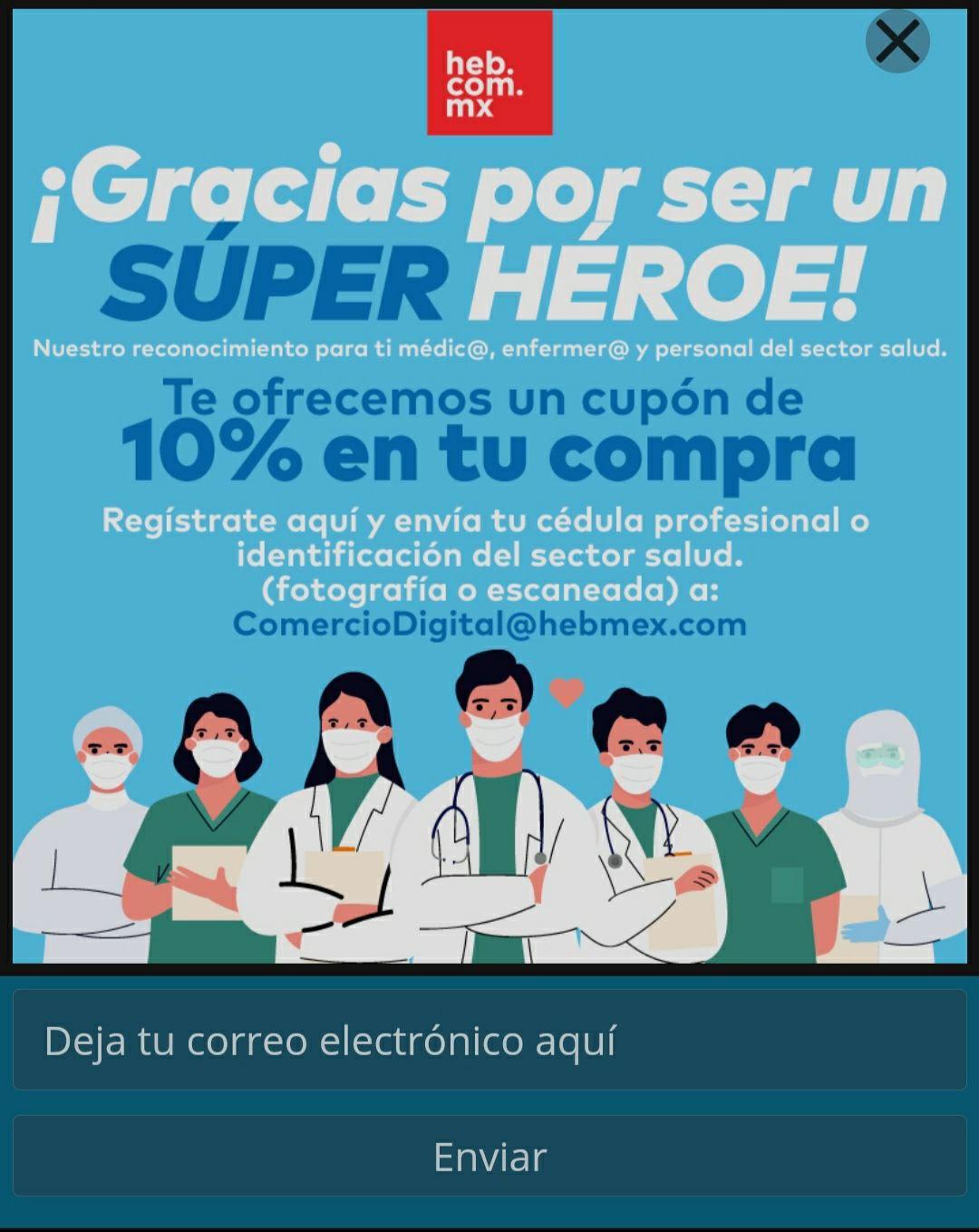 HEB: Cupón de 10% en tu compra para médic@s, enfermer@s y personal del sector salud