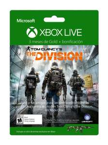 Amazon: Tarjeta Xbox Live Gold 3 Meses + Paquete de Armas The Division - Xbox One Special Edition