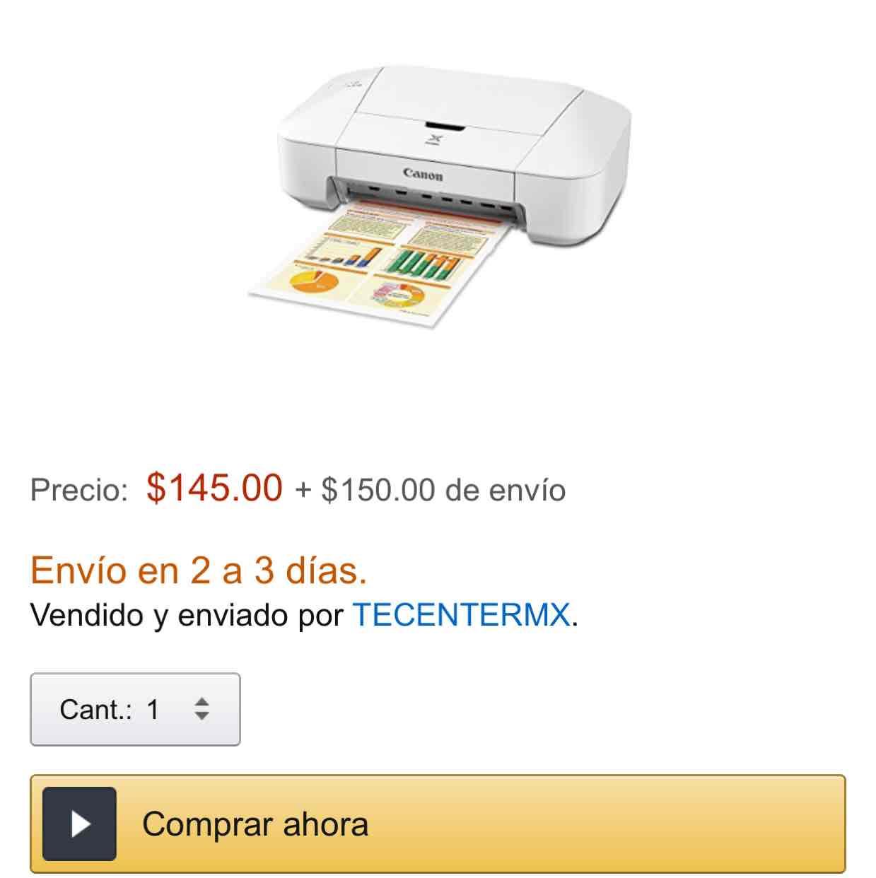 Amazon: impresora Canon Pixma Ip2810 a $295 con envío vendido y enviado por un tercero