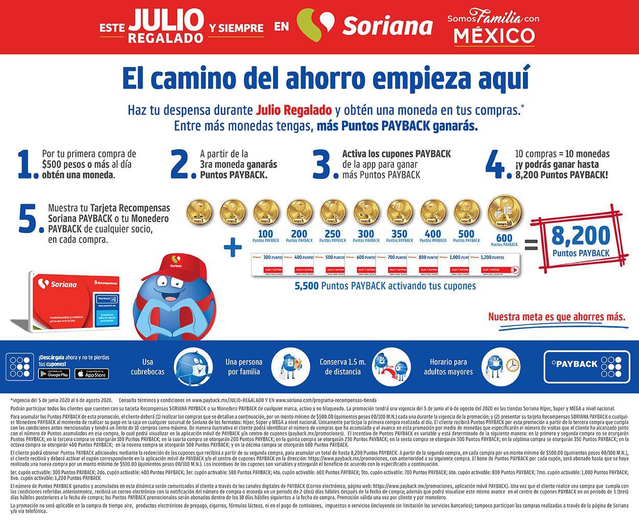 Julio Regalado 2020 en Soriana: Gana hasta 8,200 Puntos Payback = $820) ganando monedas y activando cupones en compras mínimas de $500