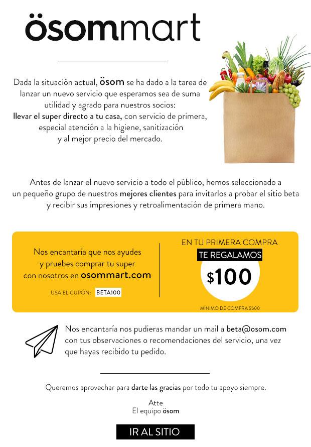 ösommart: $100 pesos de descuento comprando mínimo 500