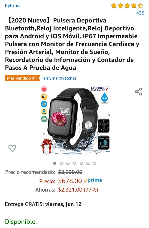 Amazon: Pulsera Deportiva Bluetooth,Reloj Inteligente,Reloj Deportivo para Android y iOS Móvil... Más en la descripción