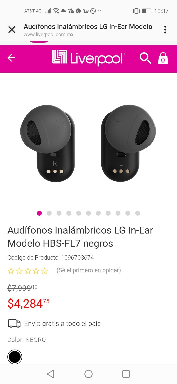 Liverpool: Audífonos Inalámbricos LG In-Ear Modelo HBS-FL7 negros