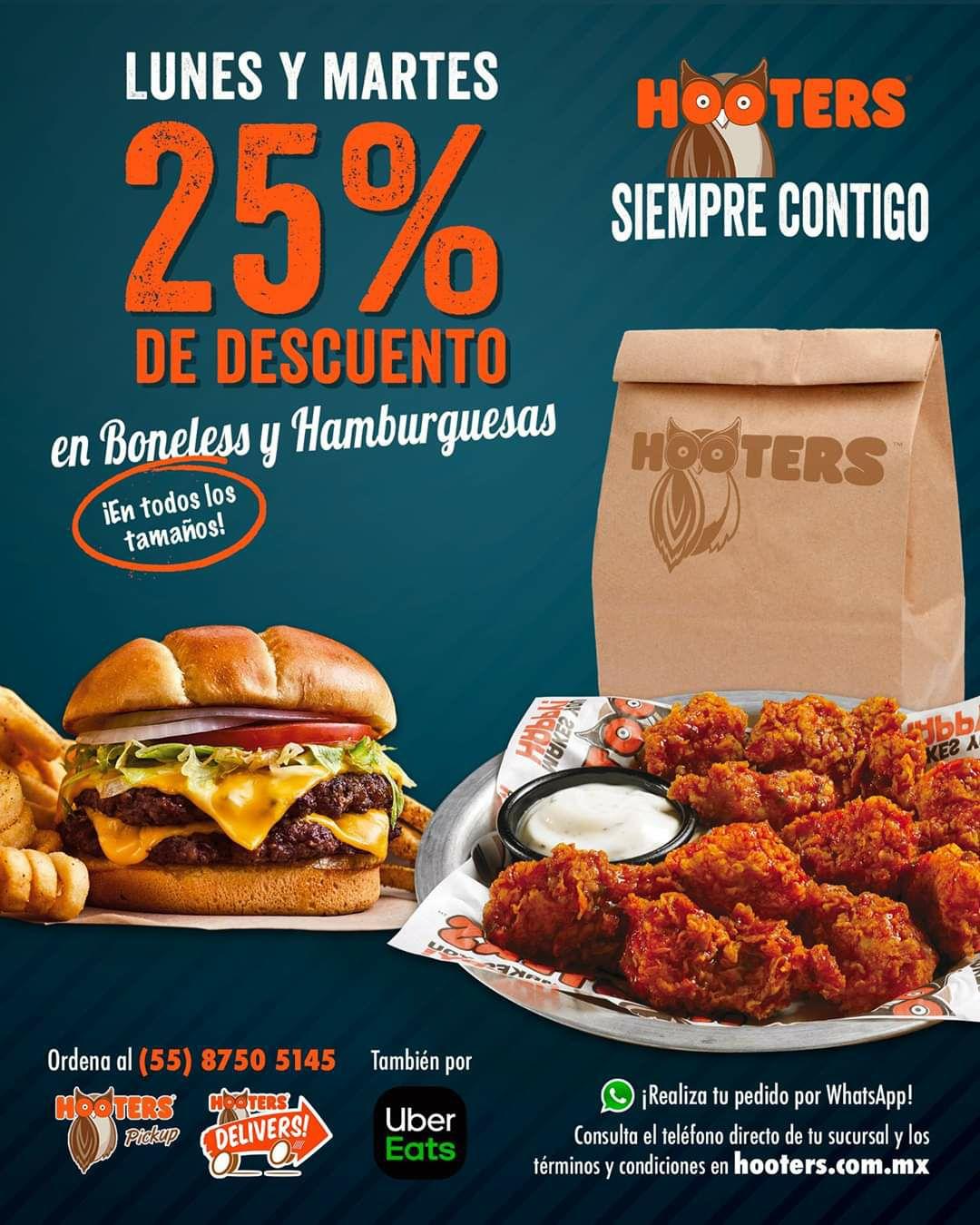 Hooters: Lunes y martes de 25% de descuento en boneless y hamburguesas