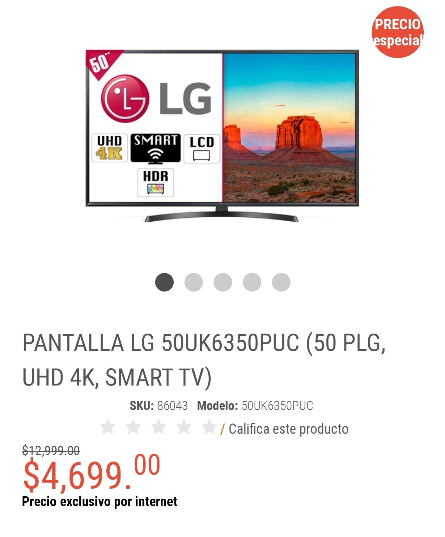 Radioshack: PANTALLA LG 50 PLG, UHD 4K, SMART TV