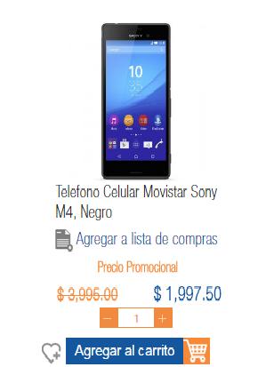 Chedraui en linea, Plaza Cristal, Villahermosa: Xperia M4 a mitad de precio.