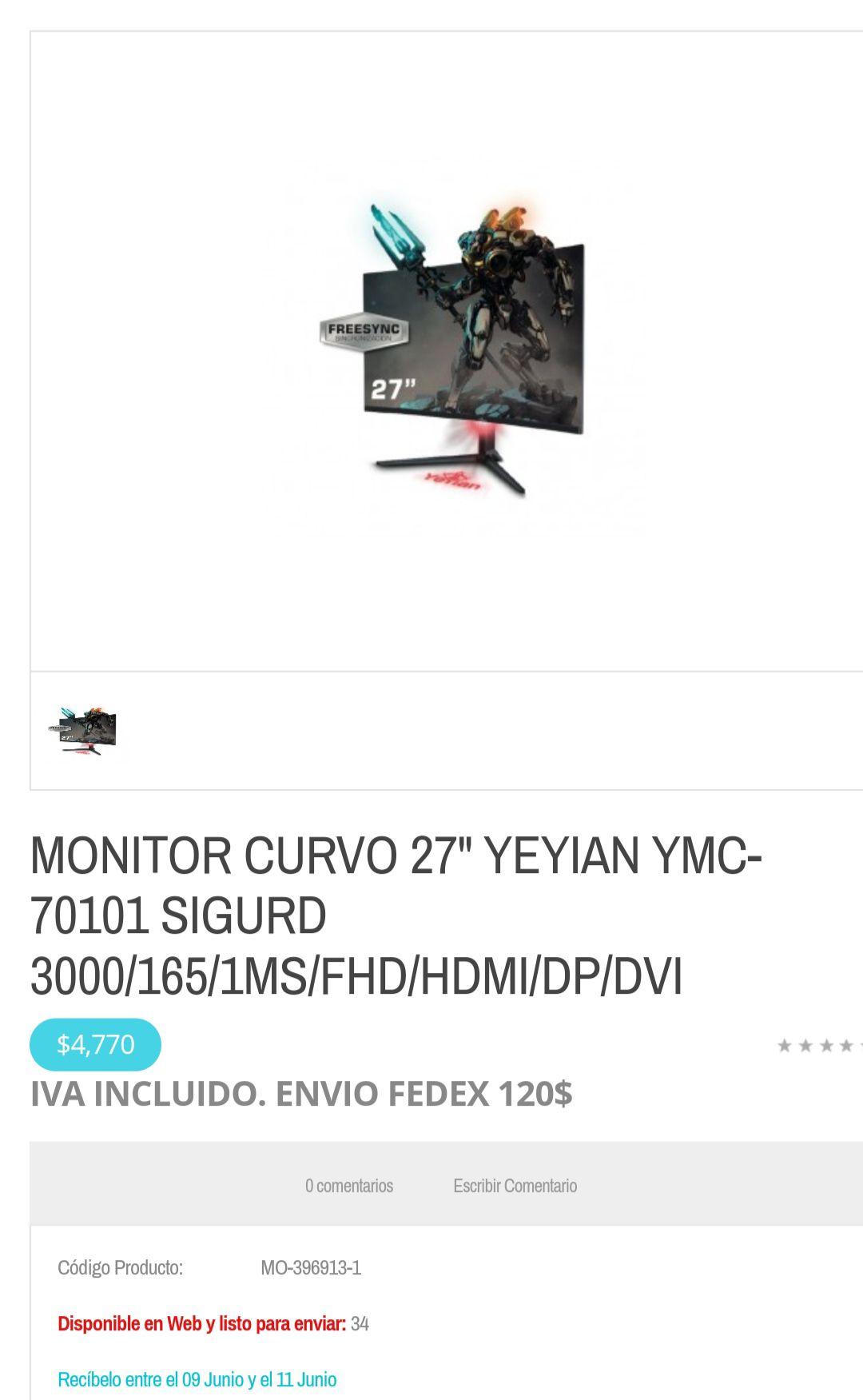 "dimercom: Monitor Yeyian de 27"", Curvo, 165hz, 1ms"