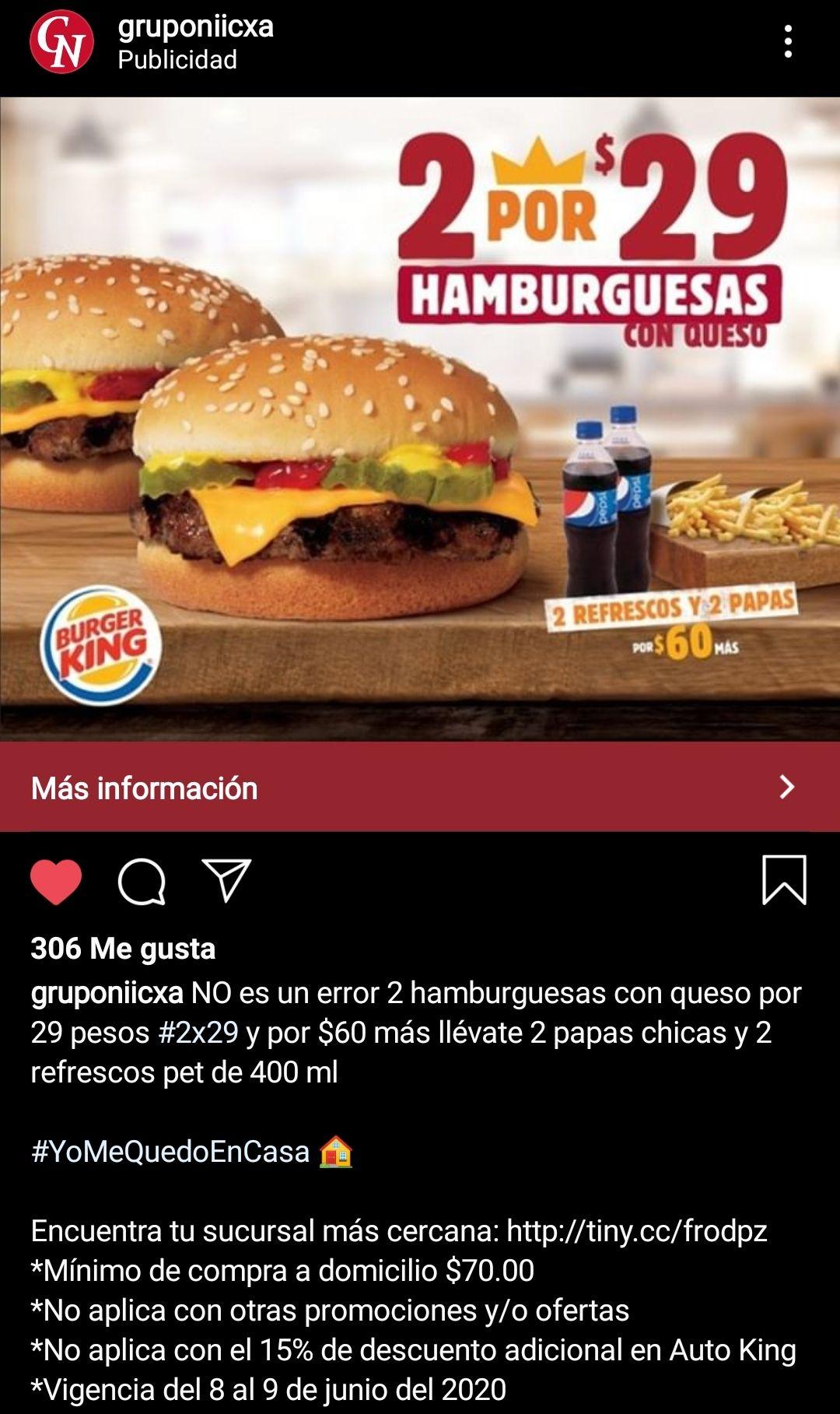 BURGER KING: 2 HAMBURGUESAS X $29