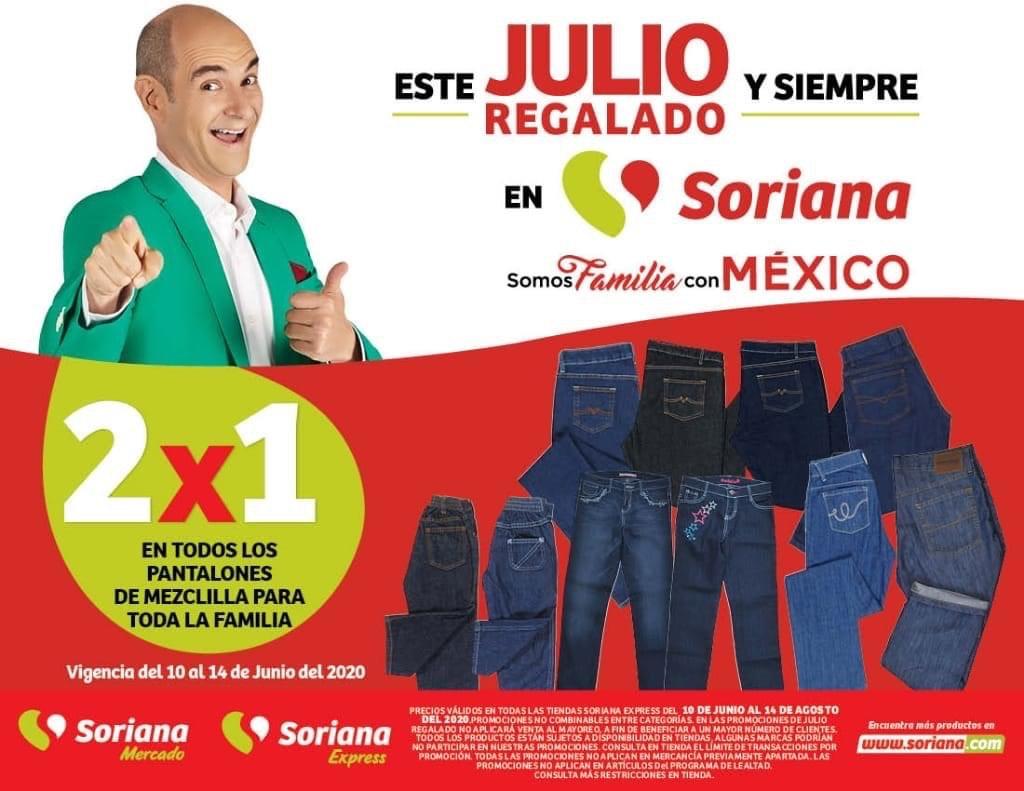 Julio Regalado 2020 en Soriana: 2x1 en TODOS los Pantalones de Mezclilla para toda la Familia