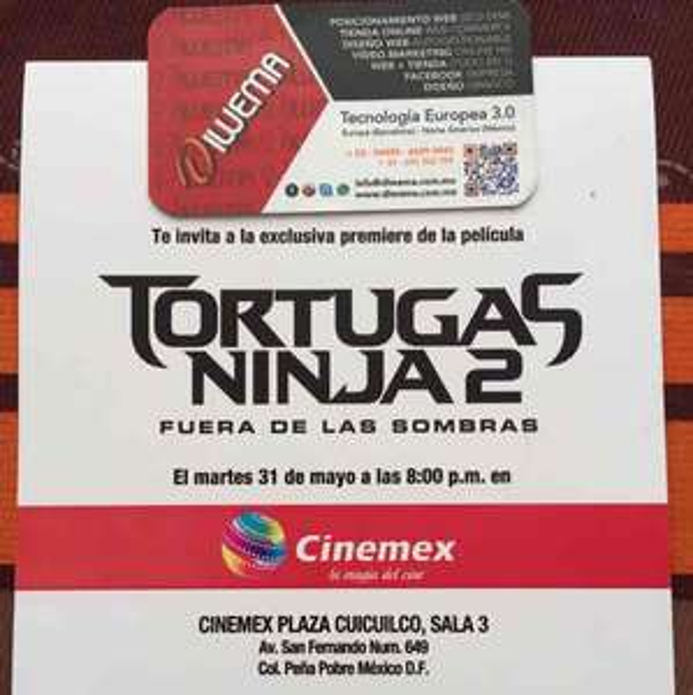 Cinemex Plaza Cuicuilco CDMX: Premiere Película Las Tortugas Ninja 2