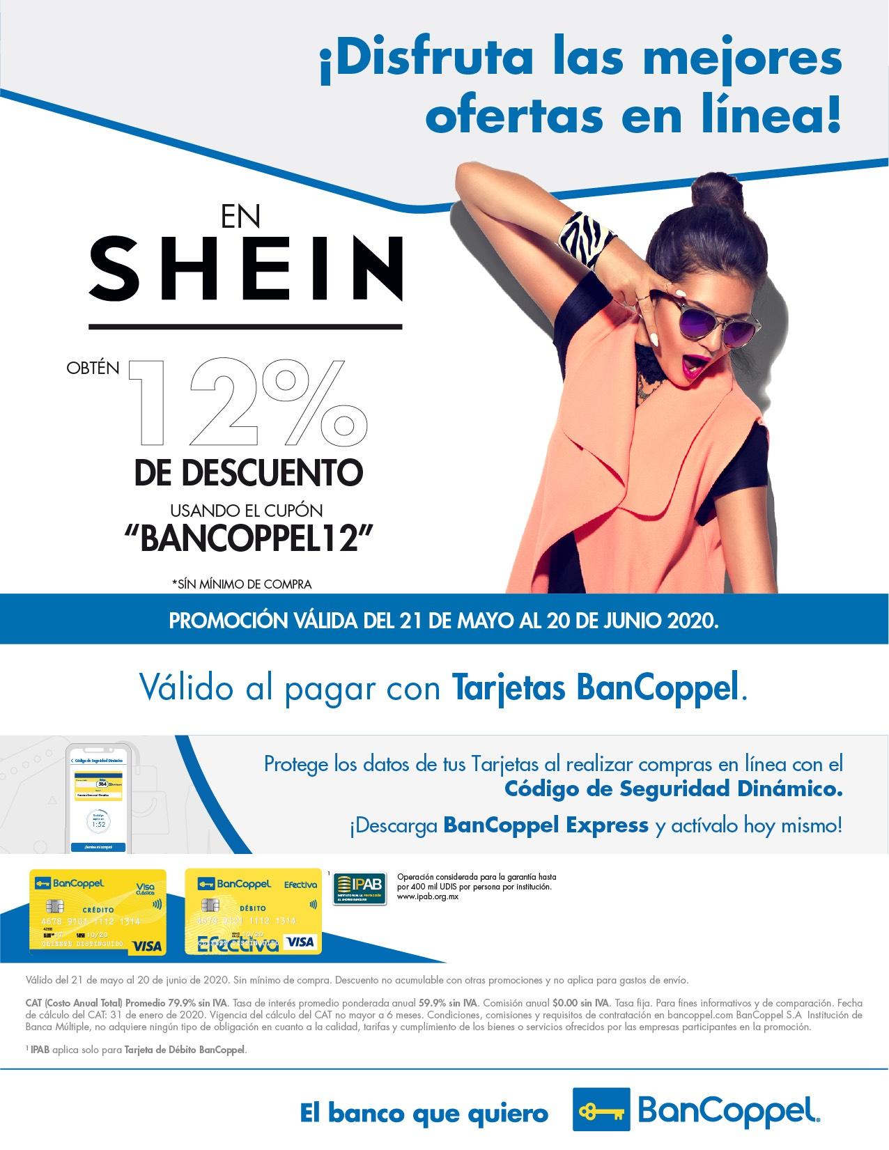 12% DE DESCUENTO EN SHEIN CON BANCOPPEL SIN MINIMO DE COMPRA.