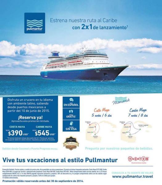 Cruceros Pullmantur: 2x1 en nuevos cruceros al Caribe (sin visa)