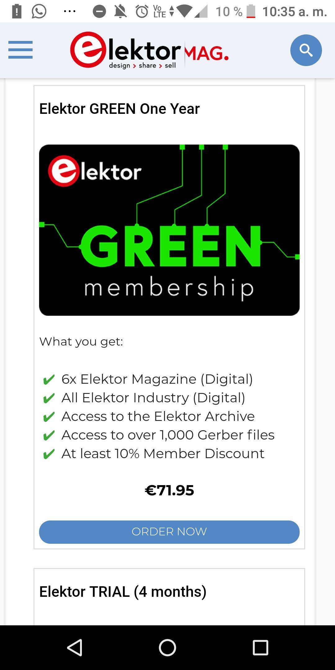 Suscripción de un año a Elektormagazine
