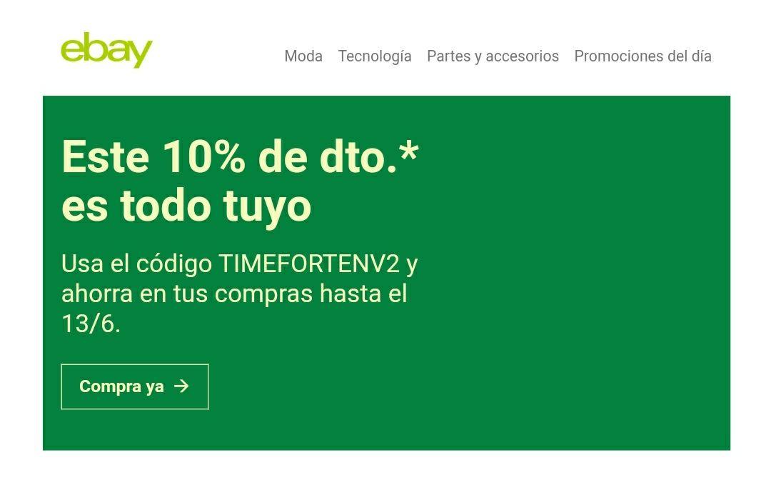 Cupón del 10% de descuento en Ebay (usuarios seleccionados)