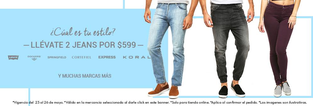 Promoda en línea: 2 Jeans por $599 (Levi's, Dockers, Furor, Express, Koral, Springfield, Cortefield)
