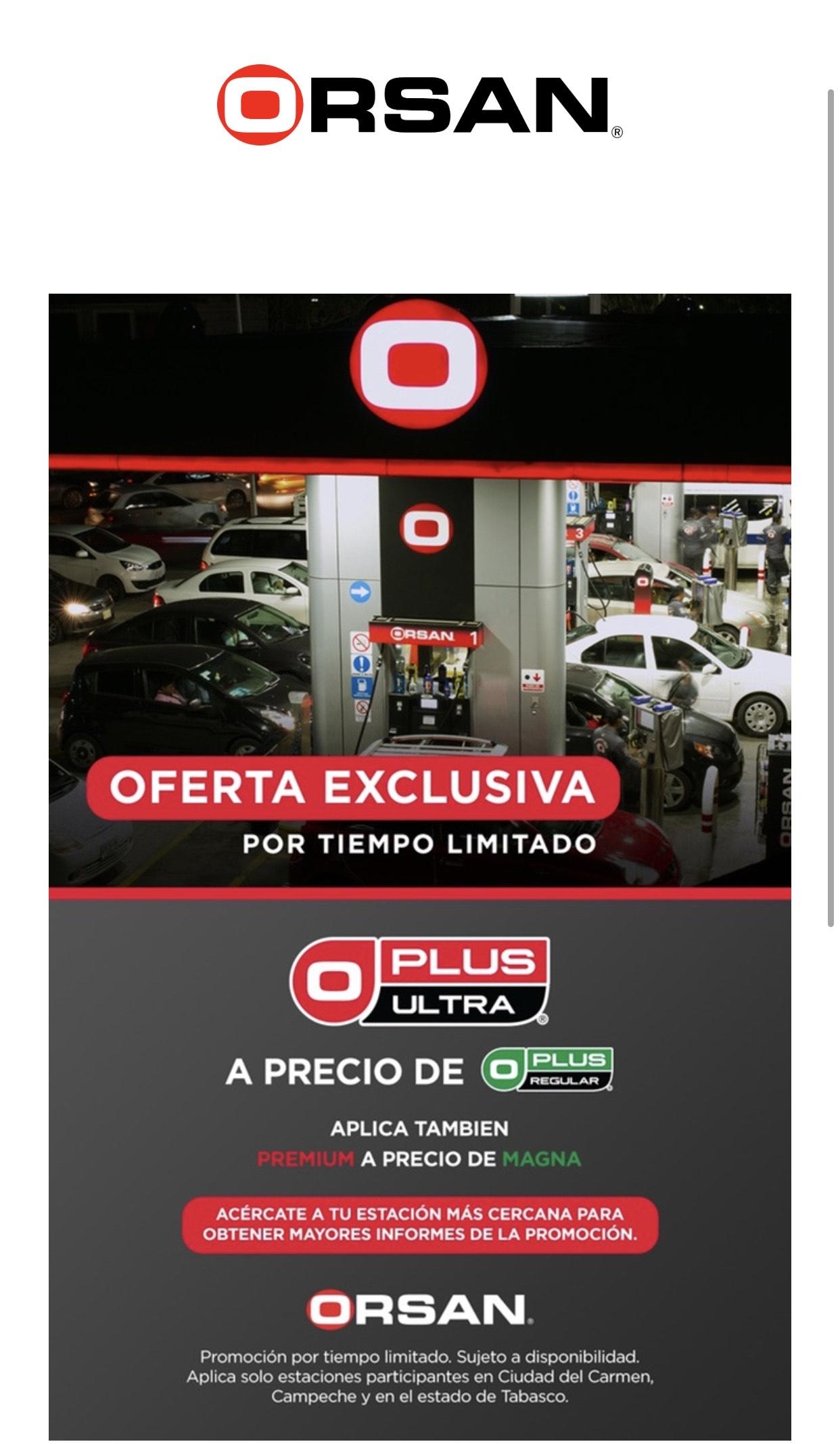 gasolineras Orsan Gasolina Premium al precio de Magna
