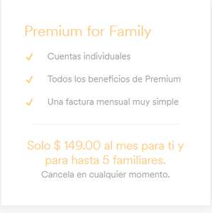 Spotify: plan Familiar (6 cuentas) por $149 al mes
