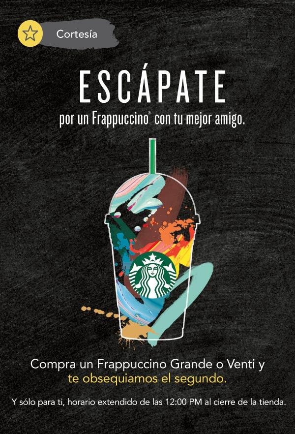 Starbucks: 2X1 en  Frappuccinos de 12pm al cierre y dobles STARS