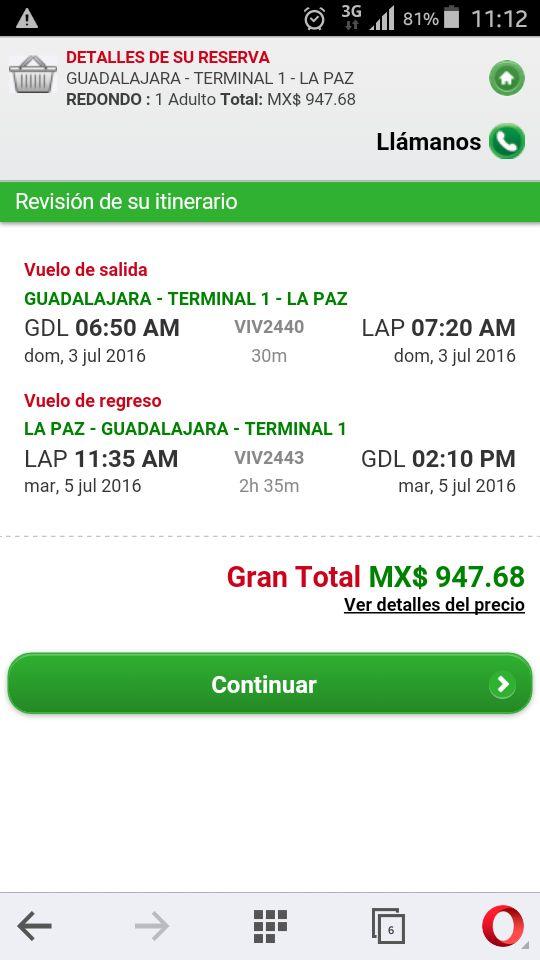 VivaAerobus: Guadalajara - La Paz Redondo a $947