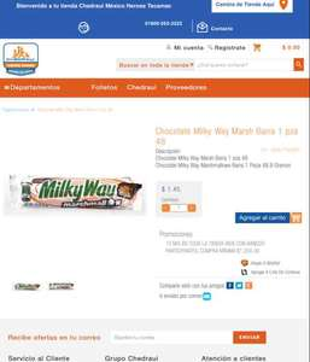 Chedraui Héroes Tecamac: Milky Way Marshmallow a $1.45