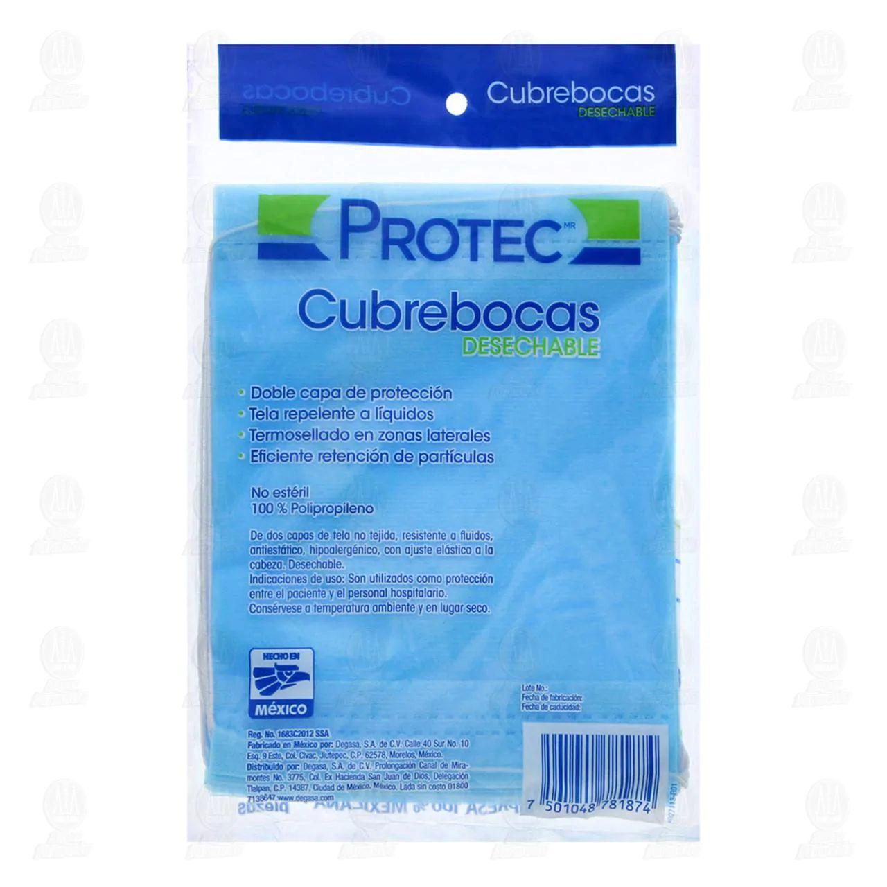 Farmacias Guadalajara: Cubrebocas Degasa Protec Azul Desechable 10 Piezas