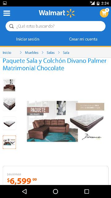 Walmart en línea: Sala y Colchón Matrimonial de $11,999 a $6,599