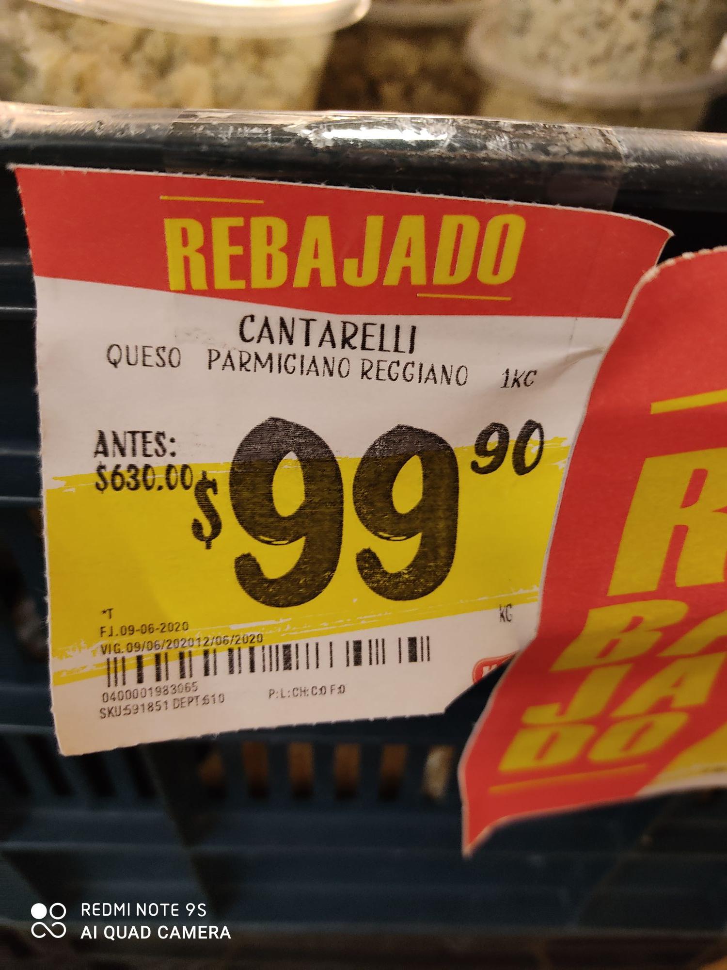 HEB: Queso parmesano de 630 a 99.90 el kilo