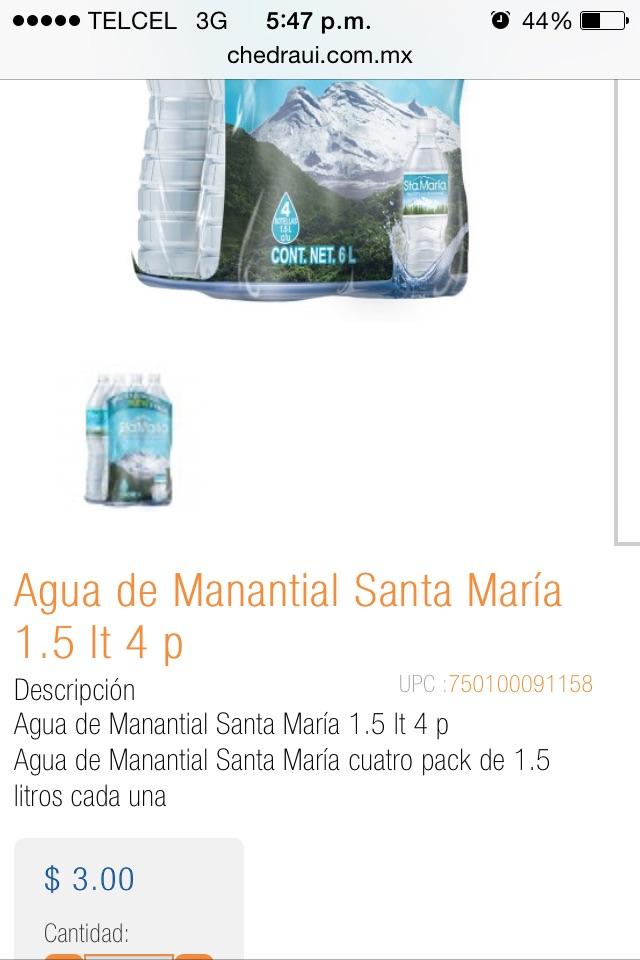 Chedraui Xochimilco: paquete de 4 aguas santa María a $3 y mas