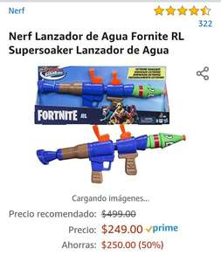 Amazon: Lanzador agua Nerf fortnite