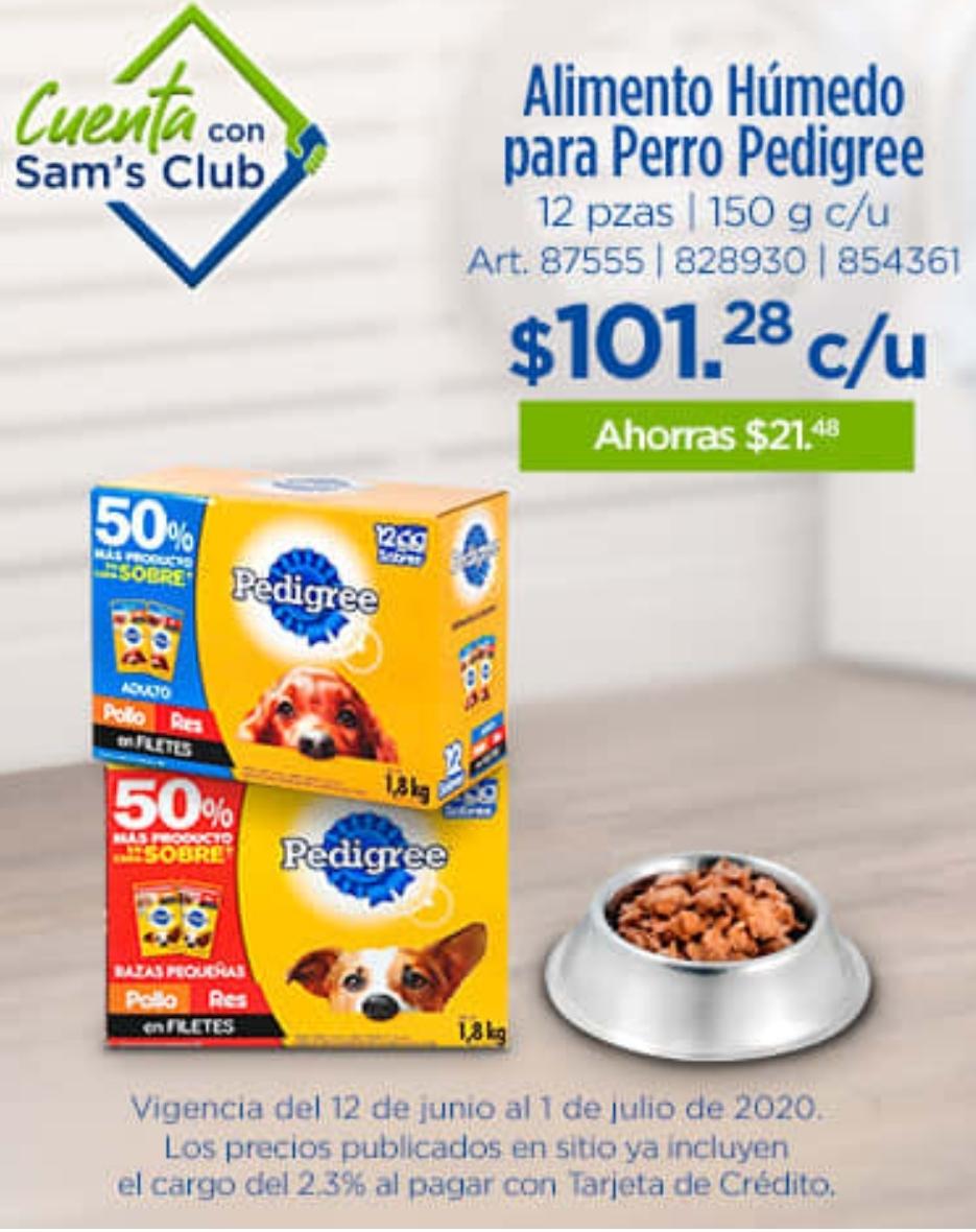 Sam's club : Alimento pedigree razas pequeñas y adultos 12 sobres de 150g equivale a 1.8kg (6 res y 6 pollo)