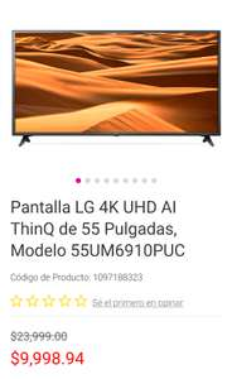 Liverpool: Pantalla LG 4k 55* en 9499