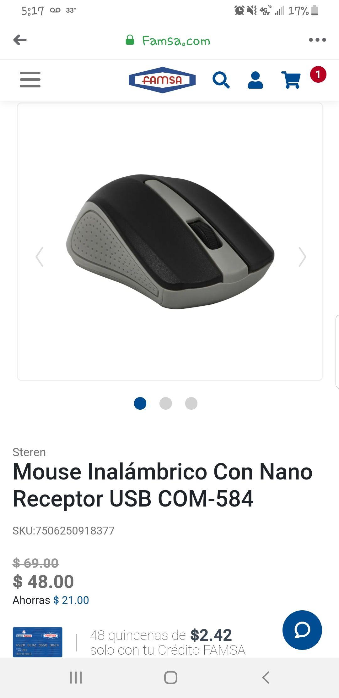 Famsa: Mouse inalambrico steren