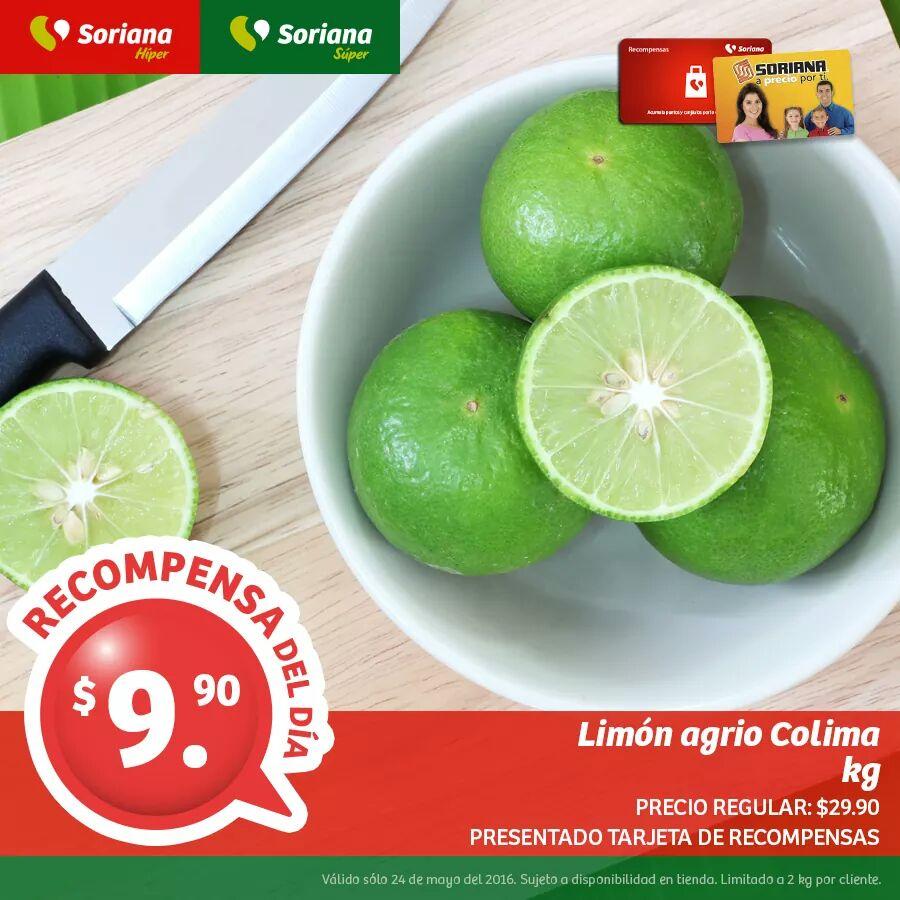 Soriana: Con tarjeta de lealtad - Limón Agrio a  $9.90/kg y más...ACTUALIZADO