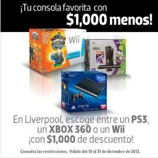 Liverpool: $1,000 de descuento en consolas PS3, Xbox 360 y Wii