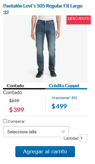 Coppel en línea: varios pantalones Levi´s para hombre desde $399