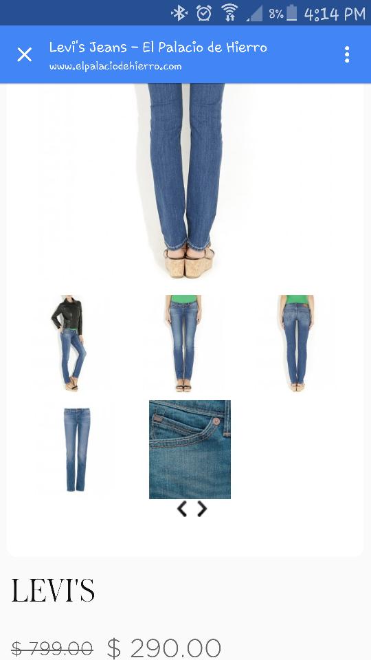 Palacio de Hierro en línea: Jeans Levi's para dama modelo 64050016 a $290