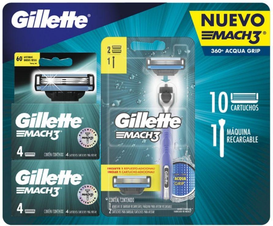 Costco Gillette Mach 3 Aquagrip (NUEVO). Rastrillo y 10 cartuchos de reemplazo.