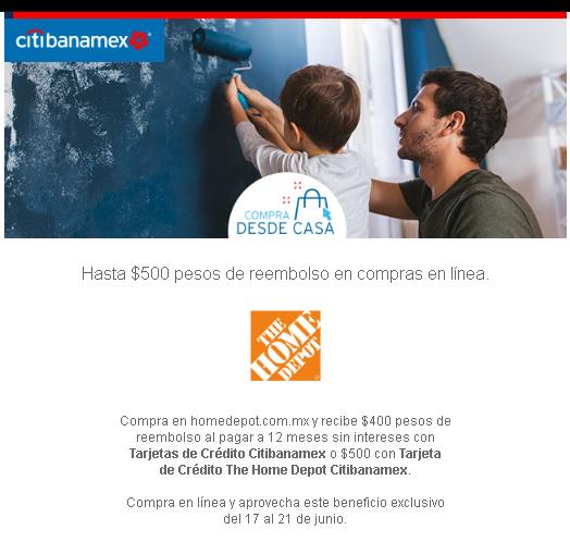 Banamex: reembolso de 400 y 500 en compras en línea de Home Depot
