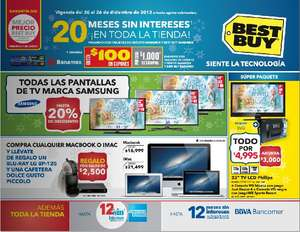 "Best Buy: laptop de 15.6"" con i3 a $6,999, 20% menos en pantallas Samsung y +"