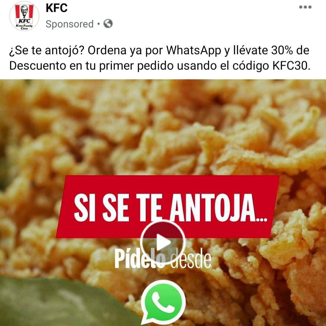 KFC: Cupón del 30% ordenando por WhatsApp