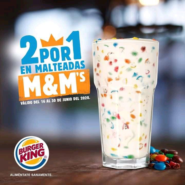 Burger King: Malteada de M&M al 2X1y Whopper o King de Pollo a 2X$79